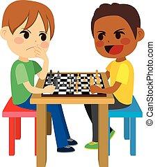 børn, spille chess