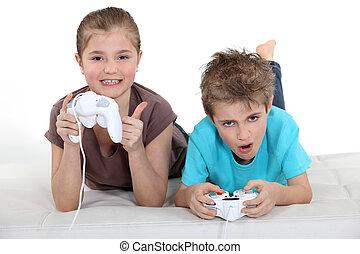 børn spille, computer boldspil