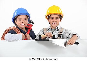 børn, spille, hos, craftsman, redskaberne