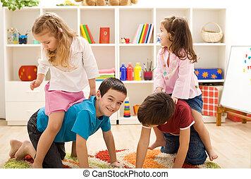 børn, spille, hos, kammerater, ind, deres, rum
