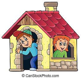 børn spille, ind, lille hus, tema, 1