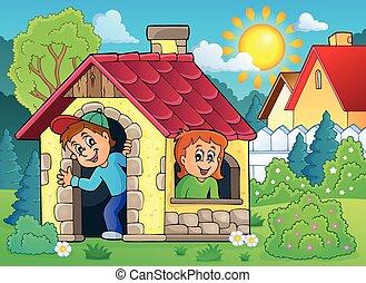 børn spille, ind, lille hus, tema, 2