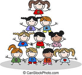 børn, teamwork, ethnicity