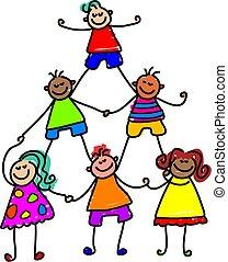 børn, teamwork