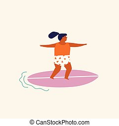 børn, vector., plakat, illustration, surfing, summertime tid, eller, card