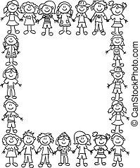 børn, venskab, border-outline