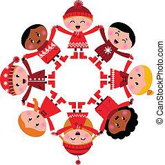 børn, vinter, multicultural, isoleret, hånd ind hånd, hvid, glade
