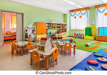 børnehave, boldspil, room.