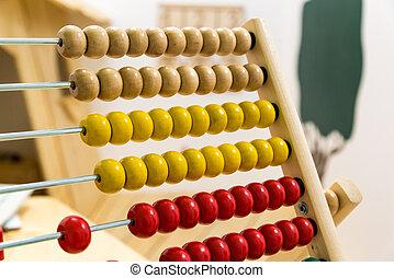 børns, abacus, ind, boldspil, rum