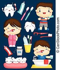 børste tand, vektor, sæt
