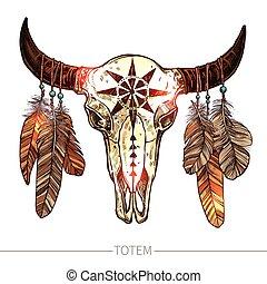 búfalo, bosquejo, plumas, cráneo