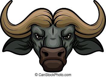 búfalo, cabeza, bozal, vector, mascota, icono