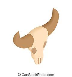 búfalo, cráneo, isométrico, 3d, icono