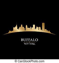 búfalo, fondo negro, contorno, ciudad, york, nuevo, silueta