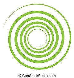 búgócsiga, curvy, twist., kör alakú, revolved, elvont, ...
