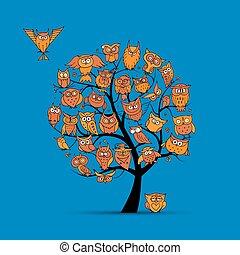 búho, árbol, para, su, diseño