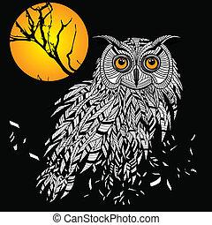 búho, cabeza, emblema, símbolo, halloween, diseño, pájaro, tal, logo., o, mascota