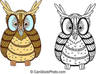 búho, caricatura, contorno, colorido, águila
