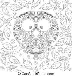 búho, colorido, hojas, zendoodle, libro, página