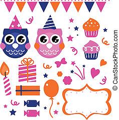 búho, cumpleaños, diseñe elementos, fiesta