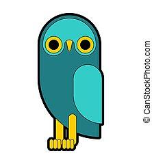 búho, flat., cartoon., ilustración, vector, eagle-owl, pájaro