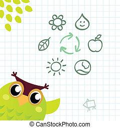 búho, icos, ecología, naturaleza, conjunto, reciclar