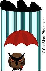 búho, lluvioso, paraguas, clipart, color, ilustración, día, vector, tenencia, o