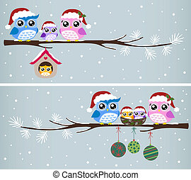 búho, navidad, celebración de la familia