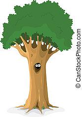 búho, o, animal, ojos, en, árbol, hueco