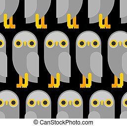búho, plano, seamless., patrón, textura, vector, plano de fondo, eagle-owl, pájaro