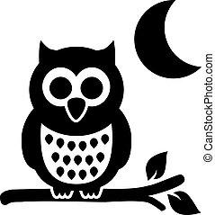 búho, por la noche, con, luna