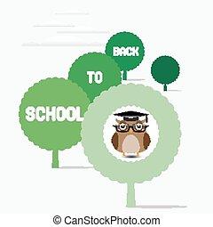 búho, profesor, sentado, en, un, árbol
