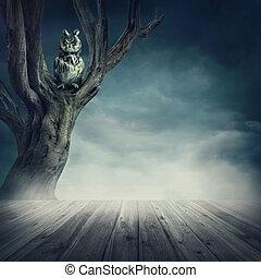 búho, sentado, en, el, árbol