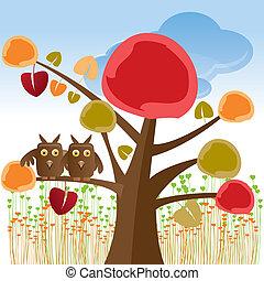 búhos, árbol, valentine