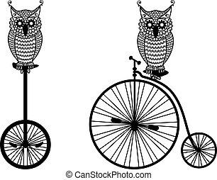 búhos, con, bicicleta vieja, vector