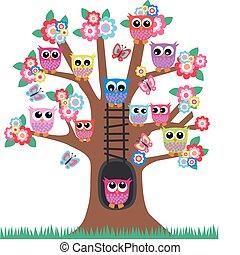 búhos, en, un, árbol