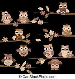 búhos, lindo, noche, caricatura, marrón