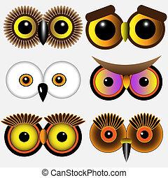 búhos, ojos