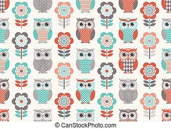 búhos, papel pintado, seamless, patrón