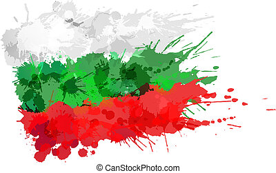 búlgaro, hecho, bandera, colorido, salpicaduras