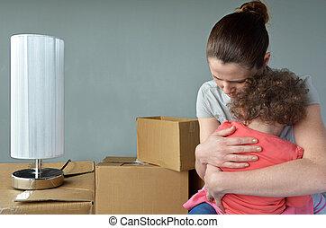 bús, épület, gyermek, nyugtalan, evicted, relocating, anya