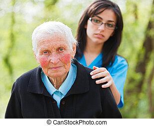 bús, öregedő, hölgy