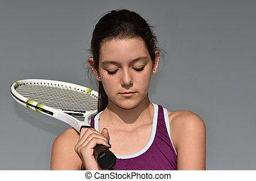bús, boldogtalan, tízenéves kor, női, teniszjátékos