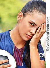 bús, fiatal, női tízenéves kor, futball játékos