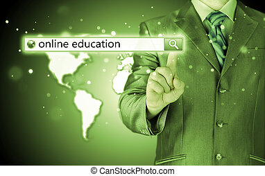 búsqueda, barra, screen., virtual, escrito, educación en línea