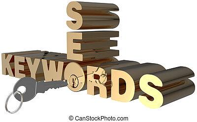 búsqueda, cerradura clave, keywords, palabras, seo