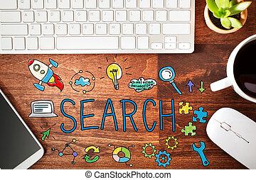búsqueda, concepto, estación de trabajo