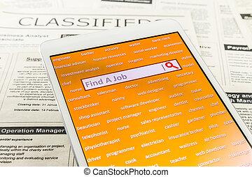 búsqueda de empleo, con, internet, sitio web, en línea