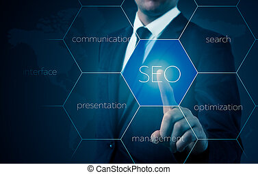 búsqueda, optimization, empresa / negocio, señalar, finnger, el seleccionar, seo