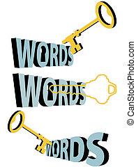 búsqueda, palabras, oro, símbolo, ojo de la cerradura, llave, keywords, 3d